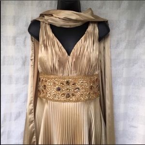 Cache Luxe gold dress with matching wrap. Size 12